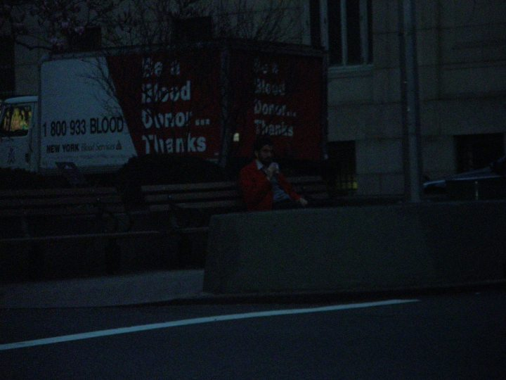 Kenan sitting on a bench. And if you want to donate blood apparently, call 1 800 933 BLOOD.